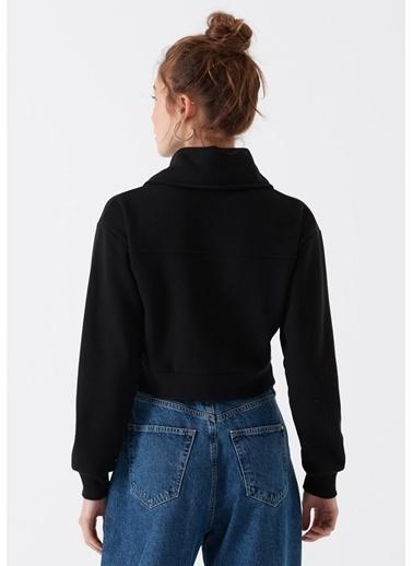 Mavi Fermuarlı Crop Sweatshirt Siyah